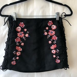 FAUX SUEDE EMBROIDERED FLORAL MINI SKIRT!